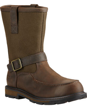 Ariat Men's Groundbreaker Waterproof Moc Toe Work Boots - Steel Toe, Dark Brown, hi-res