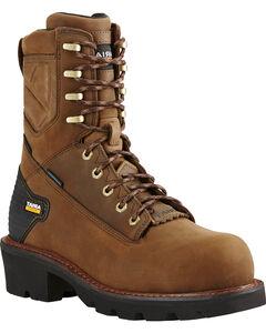 "Ariat Men's Brown Powerline H20 8""  Lace-Up Work Boots - Composite Toe, , hi-res"