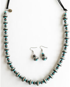 West & Co. Women's Burnished Silver Turquoise Bead Leather Necklace Set, , hi-res