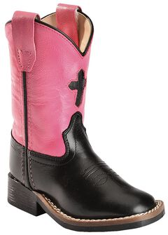 Old West Toddler Girls' Cross Cowgirl Boots, , hi-res