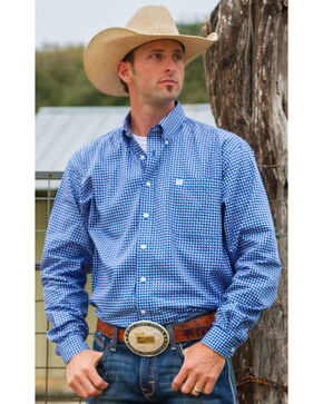 Cinch Men's Royal Blue Geo Print Western Shirt, Royal, hi-res