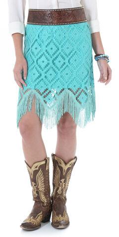 Wrangler Turquoise Crochet Fringe Western Skirt  , , hi-res