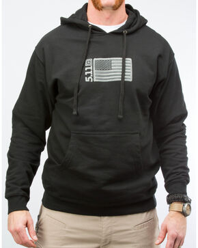 5.11 Tactical Men's Embroidered Flag Hoodie, Black, hi-res