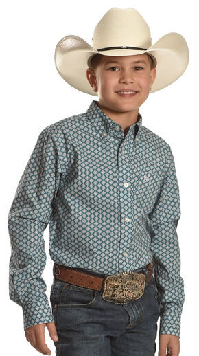 Ariat Boys' Fallon Teal and White Western Shirt, Blue, hi-res