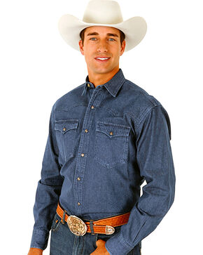Roper Men's Denim Long Sleeve Western Shirt, Chambray, hi-res