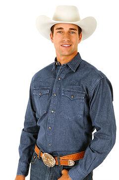 Roper Denim Blue Twill Western Shirt - Big and Tall, , hi-res