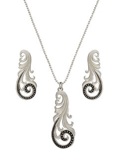 Montana Silversmiths Western Lace Whisper Necklace and Earrings Set, , hi-res
