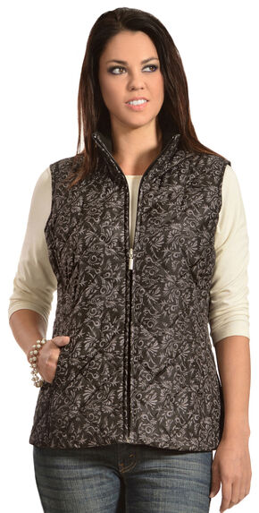 Jane Ashley Women's Quilted Floral Vest, Black, hi-res