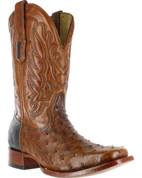 Corral Men's Ostrich Western Boots - Square Toe , Cognac, hi-res