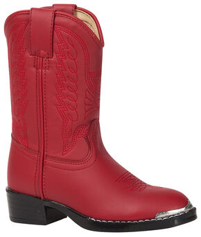 Durango Toddler Girls' Eagle Stitched Cowboy Boots - Round Toe, Red, hi-res