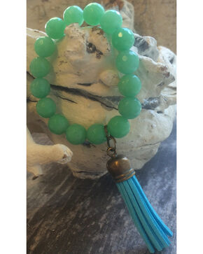 2 Queen B's Mint Jade Stretch Bracelet with Tassel, Mint, hi-res