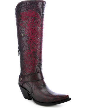 Corral Embroidered Harness Cowgirl Boots - Snip Toe, Wine, hi-res