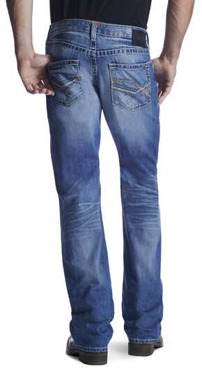 Ariat Men's M6 Denver Midway Wide Boot Cut Jeans, Med Blue, hi-res