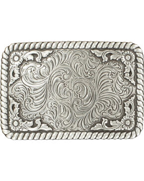Nocona Silver Scroll Buckle, Silver, hi-res