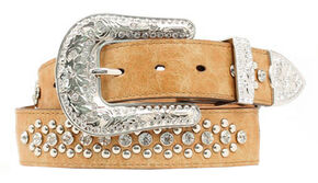 Nocona Heart & Wing Inlay Belt, Tan, hi-res