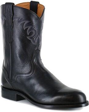 El Dorado Men's Black Embroidered Western Boots - Round Toe , Black, hi-res