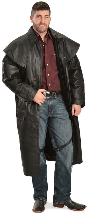 China Leather Collection Black Leather Duster, Black, hi-res