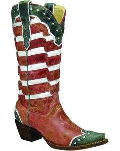 Corral Women's American Flag Cowgirl Boots - Snip Toe , , hi-res