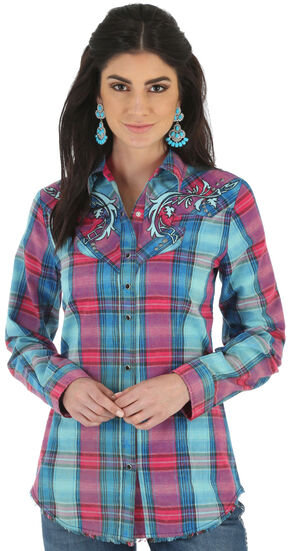 Wrangler Rock 47 Women's Embroidered Fancy Yokes Plaid Shirt, Multi, hi-res
