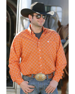 Cinch Men's Orange Dot Print Western Shirt , , hi-res