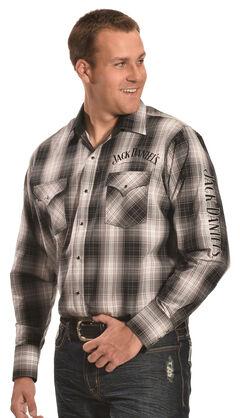 Jack Daniels Men's Embroidered Black & Grey Plaid Western Snap Shirt , , hi-res