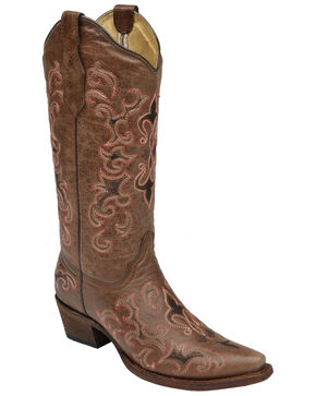 Circle G Women's Pink Fleur de Lis Cowgirl Boots - Snip Toe, Brown, hi-res
