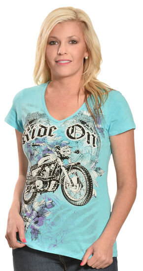 Liberty Wear Women's Ride On Tee - Plus, Aqua, hi-res