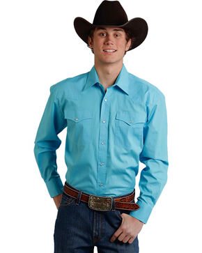 Roper Men's Amarillo Collection Solid Baby Blue Snap Long Sleeve Shirt, Light Blue, hi-res