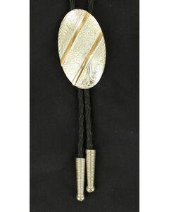 Oval Gold Striped Bolo Tie, , hi-res