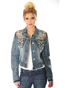Grace in LA Women's Floral Embroidery Denim Jacket, Indigo, hi-res