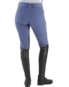 Ovation Euroweave DX Taylored Front Zip Knee Patch Breeches, Indigo, hi-res