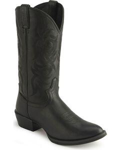 Justin Stampede Western Cowboy Boots - Medium Toe, Black, hi-res