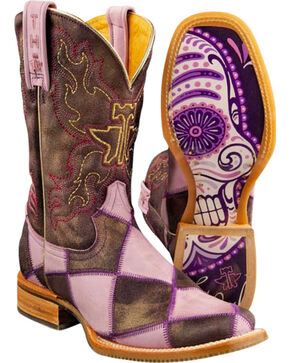 Tin Haul Sugar Skull Checkerboard Cowgirl Boots - Square Toe, Purple, hi-res