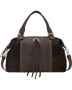 American West Chocolate Cow Town Large Convertible Zip Top Satchel , Chocolate, hi-res