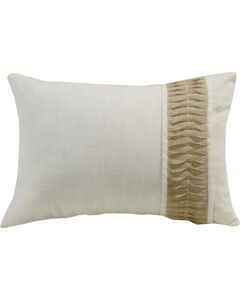 HiEnd Accents White Linen Pillow With Rouching Detail, , hi-res