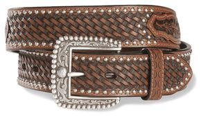 Ariat Brown Sands Studded & Embossed Leather Belt - Reg & Big, Brown, hi-res