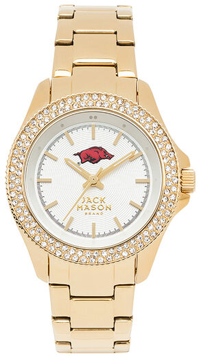 Jack Mason Women's University of Arkansas Gold Glitz Sport Bracelet Watch, Gold, hi-res
