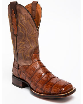 Dan Post Men's Bishop Caiman Tail Cowboy Certified Cowboy Boots - Square Toe, Cognac, hi-res