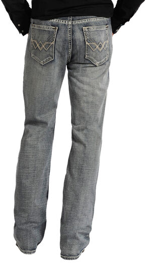 "Rock and Roll Cowboy Double Barrel Relaxed Fit Connected ""V"" Pocket Jeans, Med Wash, hi-res"