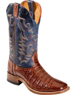 Boulet Caiman Belly Cowboy Boots - Square Toe, Peanut, hi-res