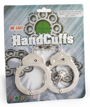 Kids' Toy Handcuffs with Key, Silver, hi-res
