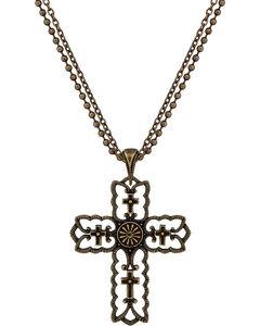 Wrangler Rock 47 Vintage Kitsch Bronze-Tone Scalloped Cross Necklace, , hi-res