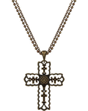 Wrangler Rock 47 Vintage Kitsch Bronze-Tone Scalloped Cross Necklace, Antique Brass, hi-res