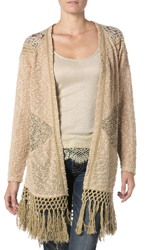 Miss Me Mix Match Lace Knit Cardigan Sweater, Taupe, hi-res