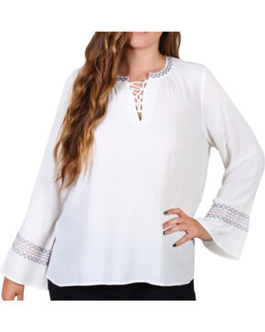 Democracy Women's Lace-Up Front Tunic - Plus, Ivory, hi-res