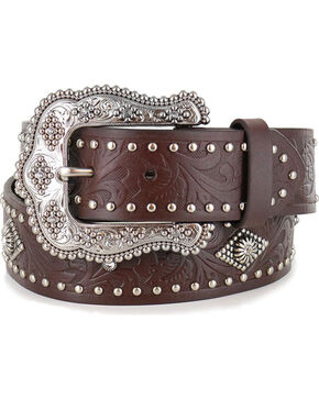 Shyanne Women's Brown Filigree and Stud Leather Belt , Brown, hi-res