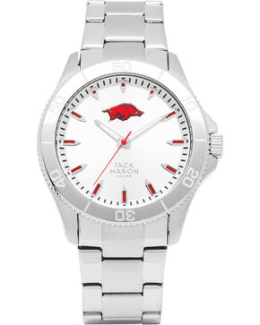 Jack Mason University of Arkansas Men's Silver Dial Sport Bracelet Watch , Silver, hi-res
