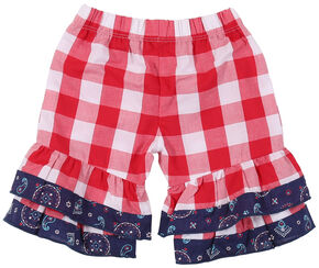 Wrangler Toddler Girls' Red Check Elastic Waist Pant, Red, hi-res