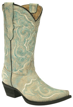 Corral Girls' Embroidered Turquoise Cowgirl Boots - Snip Toe, , hi-res