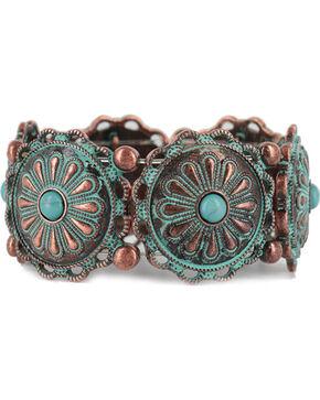 Shyanne Women's Antiqued Concho Bracelet, Turquoise, hi-res